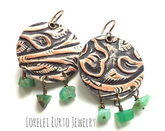 Round Leather Disc Earrings with Chrysoprase Dangles