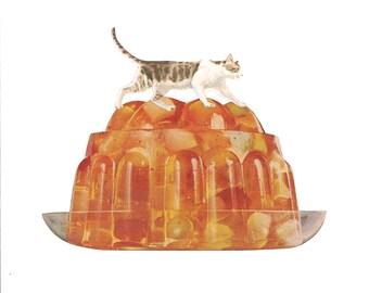 Original Collage on Paper-Cats & Jello