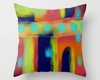 Funky Abstract Art Decorative Throw Pillow My Colorful Abstract Digital Painting