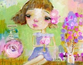 Sit with the Flowers - mixed media art print by Mindy Lacefield