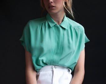 seafoam green silk button down blouse / pleated short sleeve silk shirt / minimalist simple top / s  / 2557t / B18