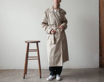 beige oversized trench coat / vintage belted trench coat / s / m / 2327o / R3