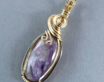 Russian Charoite 14k Gold Filled Wire Wrapped Pendant purple stone