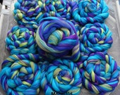 4 oz Mermaid 100% Merino Combed Top Custom Fiber Blend Turquoise Violet Aquamarine Citrus, Spin, Felt, Create Fiber Art