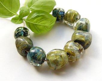 artisan lampwork, handmade  -  BLUE - GREEN Silverglass - by Calisto