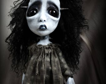 Loopy Southern Gothic Art Doll Frankenstien Monster Frightened Frannie