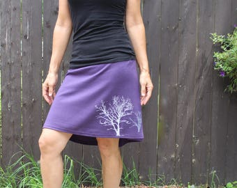 Cotton Jersey Short Skirt Tree Print Purple