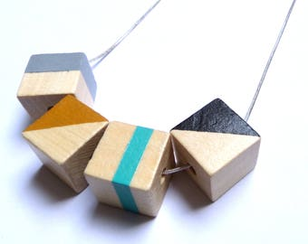 Geometric natural wood statement necklace - hand painted silver chain black grey ochre teal limited edition square modern