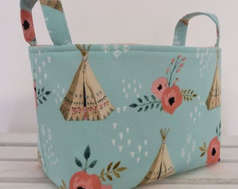 READY TO SHIP - Storage and Organization  - TeePees and Roses Flowers - Fabric Organizer Bin Storage Container Basket - Tribal Aztec
