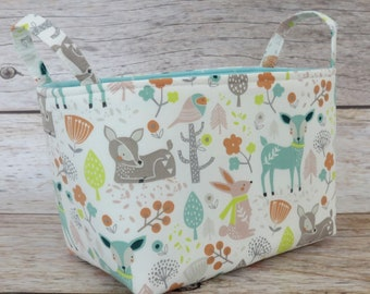 READY TO SHIP - Fabric Organizer Storage Organization Bin Container Basket - Sweet Woodland Animals Fabric - Nursery Baby Room Decor
