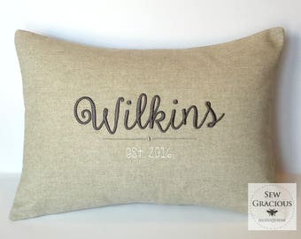 Wedding Newlyweds Name & Established Year Pillow Cover. Made to fit a 12 x 16 Decorative Throw Pillow Cover. Personalized Gift. Farmhouse