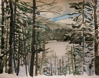 ORIGINAL watercolor - winter mountains - home decor - wilderness - snow