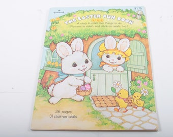 Easter Fun Book, Vintage, Story book, Coloring Book, Stick on seals, Stickers, Flowers, Bunnies, Holiday, Fun, Kids ~ The Pink Room ~ 170328