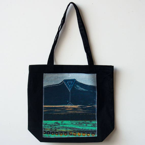 Black Mountain Tote Organic Cotton Canvas Grocery Book Craft Bag