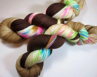 Hand Dyed Superwash Merino and Nylon 4-Ply Sock Fingering Yarn -- Speckled -- Coffee and Donuts