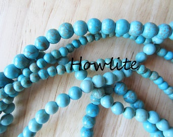 Turquoise Blue Dyed Howlite Round Beads 3 differernt sizes Beads Beading