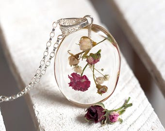 Floral Wild Rose Pendant, Resin Necklace, Bridal Necklace, Bridal Jewelry, Bridesmaid Necklace, Flowers, Terrarium Jewelry
