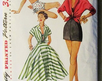 ON SALE 1950s Vintage Sewing Pattern Simplicity 4310 Playsuit Pattern Misses' Shorts, Bra, Skirt & Shirt Size 12 Bust 30