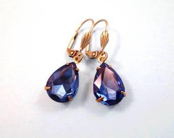 Rhinestone Drop Earrings, Sapphire Blue Glass Stones, Brass Dangle Earrings, FREE Shipping U.S.