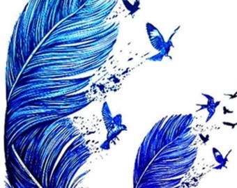 BLUE FEATHERS and birds temporary tattoo