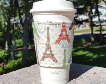 FREE SHIPPING UPGRADE with minimum -  Fabric coffee cozy / cup sleeve / coffee sleeve  / teacher gift / Paris Eiffel Tower
