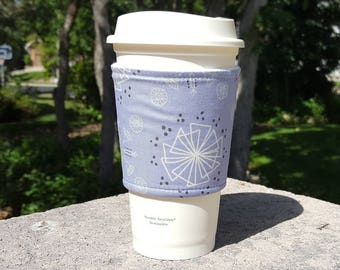 FREE SHIPPING UPGRADE with minimum -  Fabric coffee cozy / cup sleeve / coffee drink sleeve / Graphic Designs on Violet