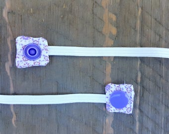 Replacement Snap-On Elastic for Nebulizer Head Straps (Purple Floral)