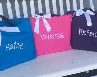 Monogrammed Tote Bags, Personalized bags, Embroidered Gifts, Party favor, overnight bag, going to grandmas tote, birthday party favor, gift
