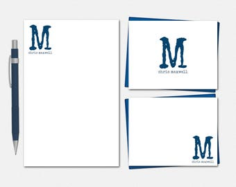 Modern Monogram Stationery Set for Men - Monogrammed Stationery Set - Free US Shipping - Personalized Stationery for Men