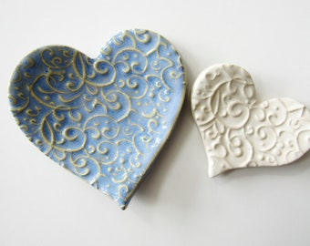 Two Nesting Hearts -  Stacking, Textured Pottery Spoon Rests or ring dishes - set of two