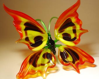 Blown Glass Figurine Art Insect Red, Yellow and Black BUTTERFLY