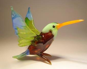 Handmade Blown Glass Art HUMMINGBIRD Bird Figurine with a Green Head and Blue Trim