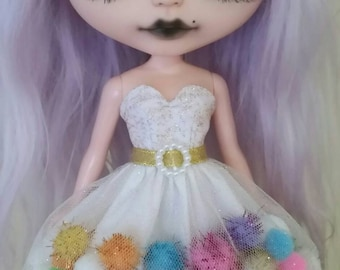 Rainbow Gold Glitter pom-pom dress for Blythe and Pullip