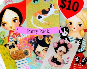 FUN PACK - 4 prints one postcard cute cats pug frida artwork poster prints by Tascha