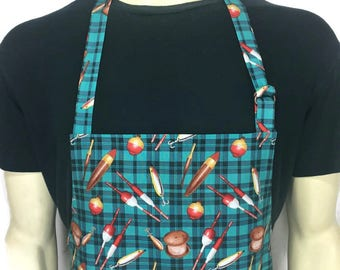 Fishing Apron for men , Fishing tackle / Bobbers on a Blue Green Plaid , Lake Cabin Kitchen decor , Professional Chef apron