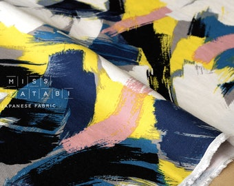 Japanese Fabric brushed rayon twill brushstrokes - blue, pink, yellow, black - 50cm