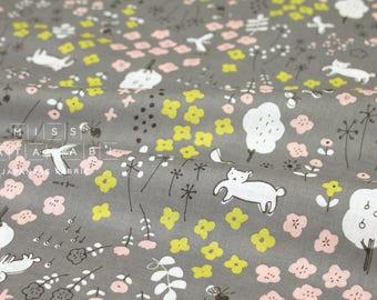 Japanese Fabric Megumi Sakakibara lawn - Hanazono - grey - 50cm