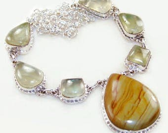 Sale: Jasper and Green Prehnite Sterling Silver Necklace