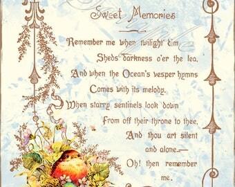 Sweet Memories Poem Baby Robin Bird Vintage Style Note Card with Envelope