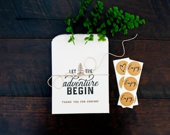 Wax Lined Paper Favor Bags - Wedding or Shower Favor Bags - Trail Mix Treat Bag - Let the Adventure Begin - 5 White Candy Bags