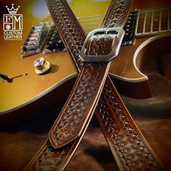 Brown Leather Guitar Strap Tooled and stamped by hand Competely Handmade for YOU in New York City by Freddie Matara