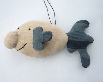 Happy Blobfish - Clive - hand sewn hanging decoration - collectors' doll - collectors' plushie / plushy