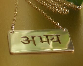 Vertical Abhaya or Fearlessness Necklace by donnaodesigns