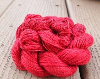 Rayon Slub Yarn Rose Medium Red 100 yards Shiny sportweight knitting weaving