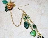 ON SALE Emerald Green Chain Ear Cuff  Bajor Bajoran Earring, Gift for Her, Stocking Stuffer