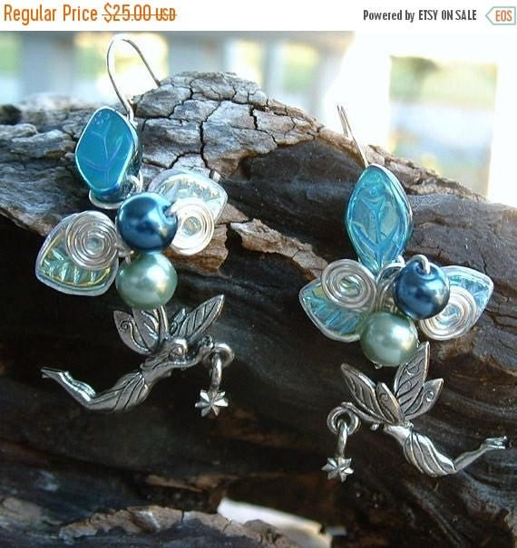 ON SALE Fairy Star Earrings Moonlight Blue