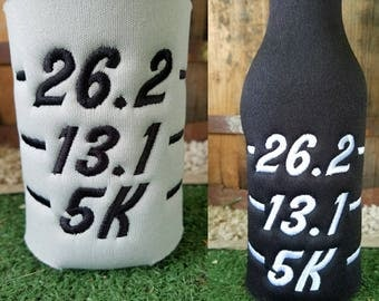 CHOOSE ONE - Race 5K 10K embroidered Long Neck Bottle or can insulator