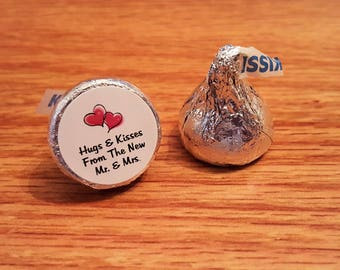 Personalized Wedding Hershey Kiss Sticker Labels Hugs and Kisses Mr and Mrs