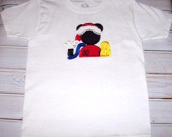 Sample SALE Boys Christmas Mickey Mouse Playhouse Applique S/S Shirt Size 4/5--Vacation--Christmas--Birthday--Santa