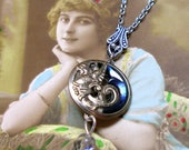 Dragon, Antique BUTTON necklace, 1800s Victorian beast on silver chain. One of a kind, button jewellery.